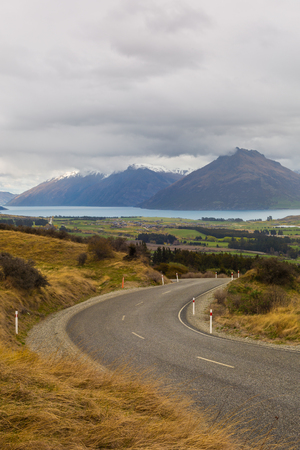 range of motion: road to the top of the mountain in New Zealand Stock Photo