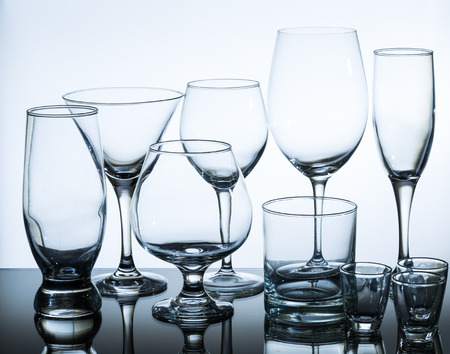 beer tulip: set of glasses on glass table