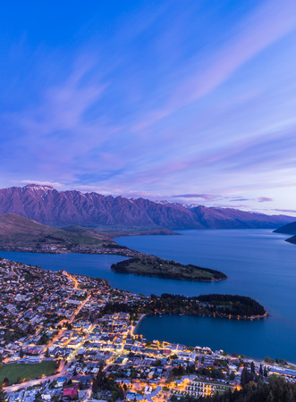 Queenstown aerial view at twilight. New Zealand