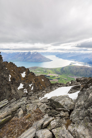 overlook: Queenstown overlook from top of the Remarkables Mountain, New Zealand Stock Photo