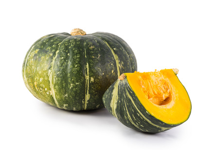 green pumpkin isolated on white 스톡 콘텐츠