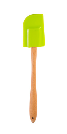 green spatula with wooden handle isolated on white Stok Fotoğraf - 47800640