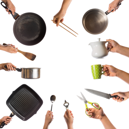 hand tool: hands with kitchen tools isolated on white