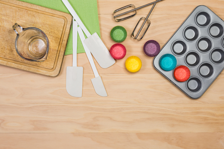 baking and pastry tools on wooden background