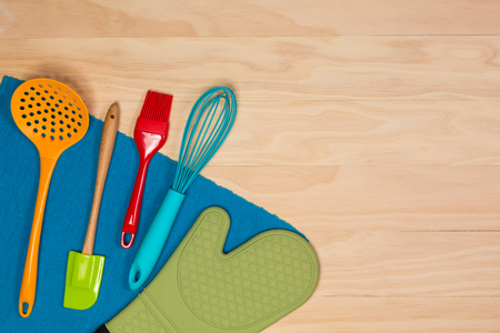 colorful baking and pastry tools on wooden background Stock fotó