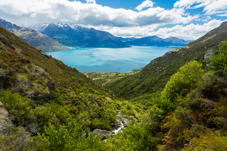 lush: mountain and lake landscape in Queenstown, New Zealand