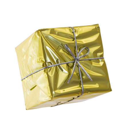 birthday religious: golden gift box isolated on white Stock Photo