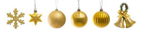 star ornament: set of golden christmas decoration isolated on white Stock Photo