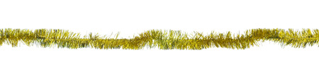 Christmas gold tinsel isolated on white Stok Fotoğraf - 48715368