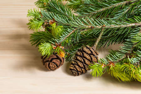 pine needles close up: Pine branch and cone on wooden background