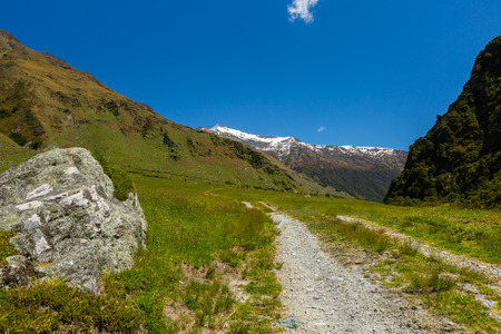 aspiring: view of Rob Roy Track at Mount Aspiring National Park, New Zealand Stock Photo
