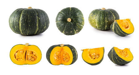 collection of pumpkins isolated on white