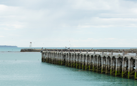 oamaru: long wooden bridge in Oamaru, New Zealand Stock Photo