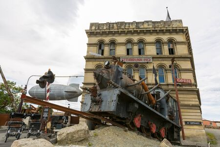 oamaru: Oamaru, New Zealand - December 16, 2015: Steampunk HQ is an art collaboration and gallery in the historic Victorian precinct of Oamaru, New Zealand. Steampunk Hq opened in November 2011. Editorial