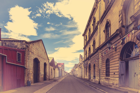 oamaru: Old town in Oamaru, New Zealand. Filtered in vintage style Stock Photo