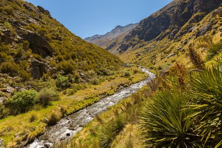 mountain valley: mountain valley and creek landscape in New Zealand Stock Photo