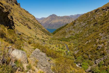 mountain valley: beautiful mountain valley on Wye Creek Track, New Zealand Stock Photo