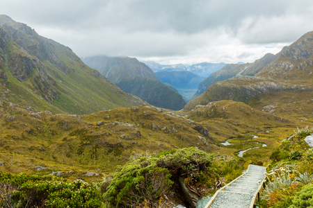 overlook: overlook view of Routeburn Track in South Island, New Zealand Stock Photo