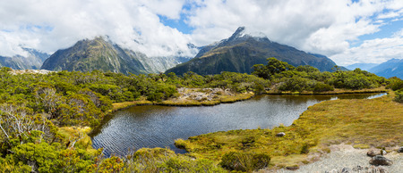 aspiring: Panoramic view of Key Summit with Ailsa Mountain at the background. Routeburn Track, New Zealand
