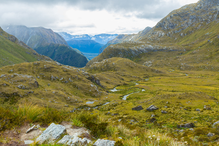 aspiring: overlook view of Routeburn Track in South Island, New Zealand Stock Photo