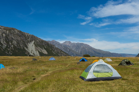 Tourist tent in White Horse Hill Campground, Mt Cook National Park Stock fotó