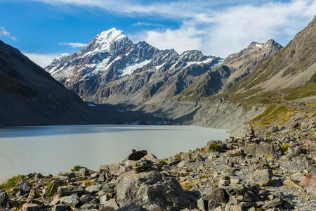 aoraki mount cook national park: view of Hooker Glacier Lake and Mount Cook in New Zealand