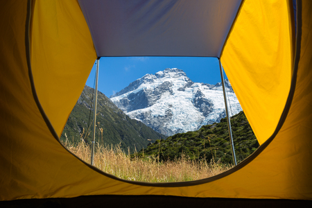 aoraki mount cook national park: view from inside the tent to Mount Cook, New Zealand