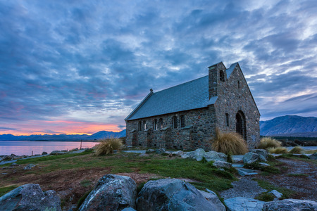 tekapo: The Church of the Good Shepherd at twilight, Lake Tekapo, New Zealand