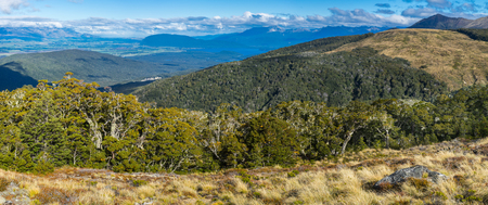 anau: Panoramic view of Kepler Track, one of the New Zealand Great Walks.