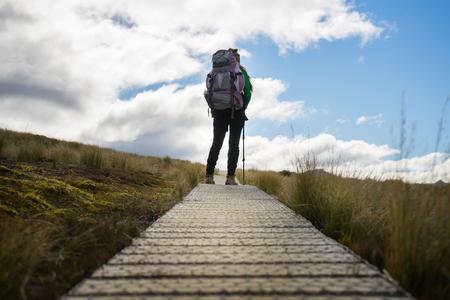 kepler: woman hiker walking on Kepler Track, one of the New Zealand Great Walks