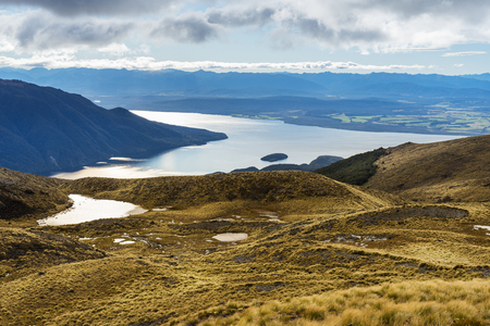 anau: Aerial view of Lake Te Anau from Kepler Track. Kepler Track is one of the New Zealand Great Walks Stock Photo
