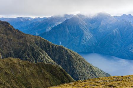 kepler: Mountain and lake landscape of Kepler Track. Kepler Track is one of the New Zealand Great Walks