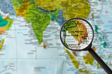 Map of Cambodia through magnifying glass