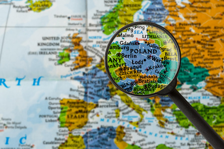 map of Poland through magnifying glass