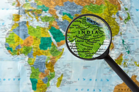 Map of India through magnifying glass Stock Photo
