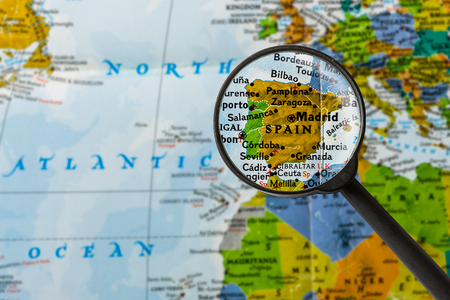 map of Spain through magnifying glass
