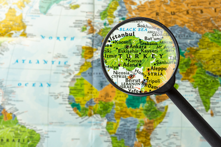 Map of Turkey through magnifying glass