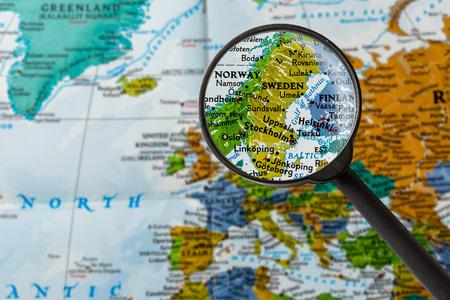 map of Sweden through magnifying glass Stock fotó