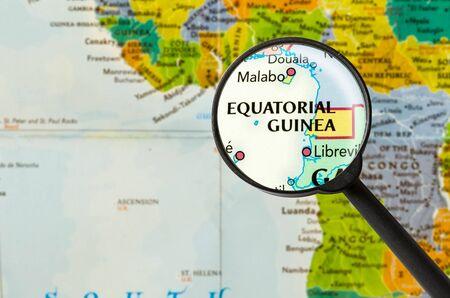 equatorial guinea: Map of Republic of Equatorial Guinea through magnigying glass
