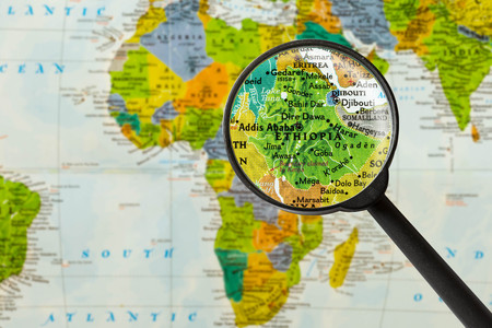 Mappa della Repubblica Federale Democratica di Etiopia con vetro maggiante