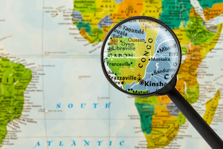 northwest africa: Map of Republic of the Congo through magnigying glass
