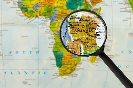 Map of United Republic of Tanzania through magnigying glass