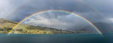 wakatipu: Double rainbows over lake Wakatipu in Queenstown