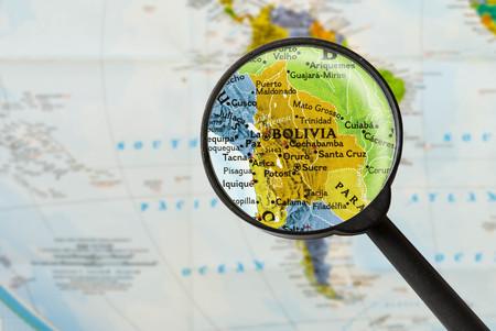 mapa de bolivia: map of Plurinational State of Bolivia through magnifying glass