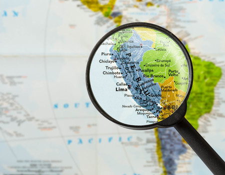 map of Republic of Peru  through magnifying glass