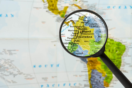 map of Republic of Colombia through magnifying glass