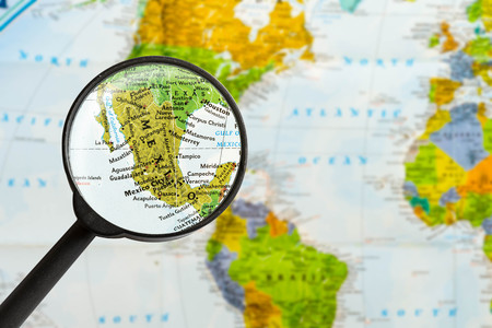 map of United Mexican States through magnifying glass Stock Photo