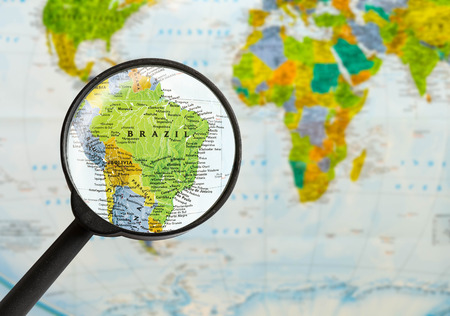 map of Federative Republic of Brazil through magnifying glass