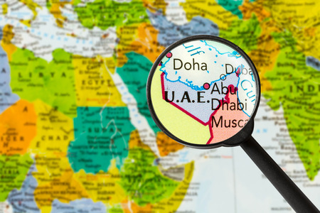 map of United Arab Emirates through magnifying glass Standard-Bild
