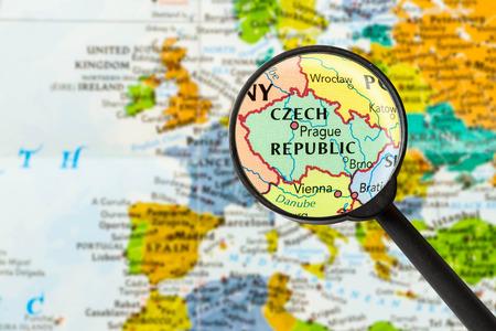 map of Czech Republic through magnifying glass
